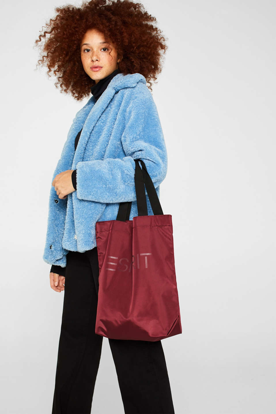 Nylon shopper with a logo print, BORDEAUX RED, detail image number 1