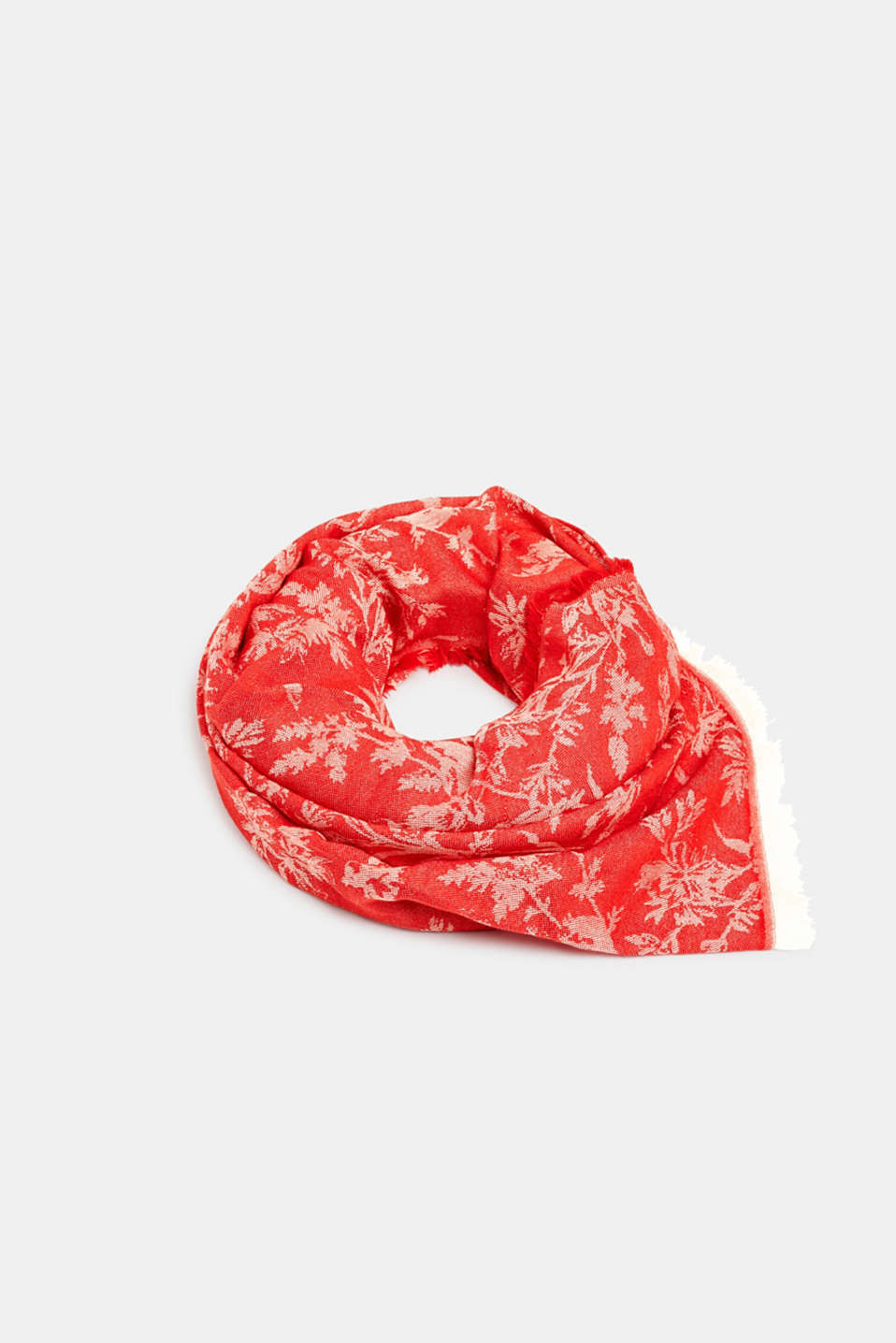 Jacquard scarf with a positive-negative pattern, RED, detail image number 0
