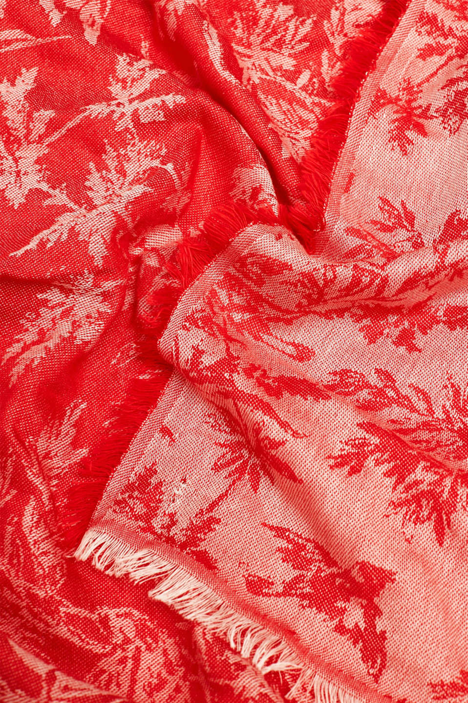 Jacquard scarf with a positive-negative pattern, RED, detail image number 2