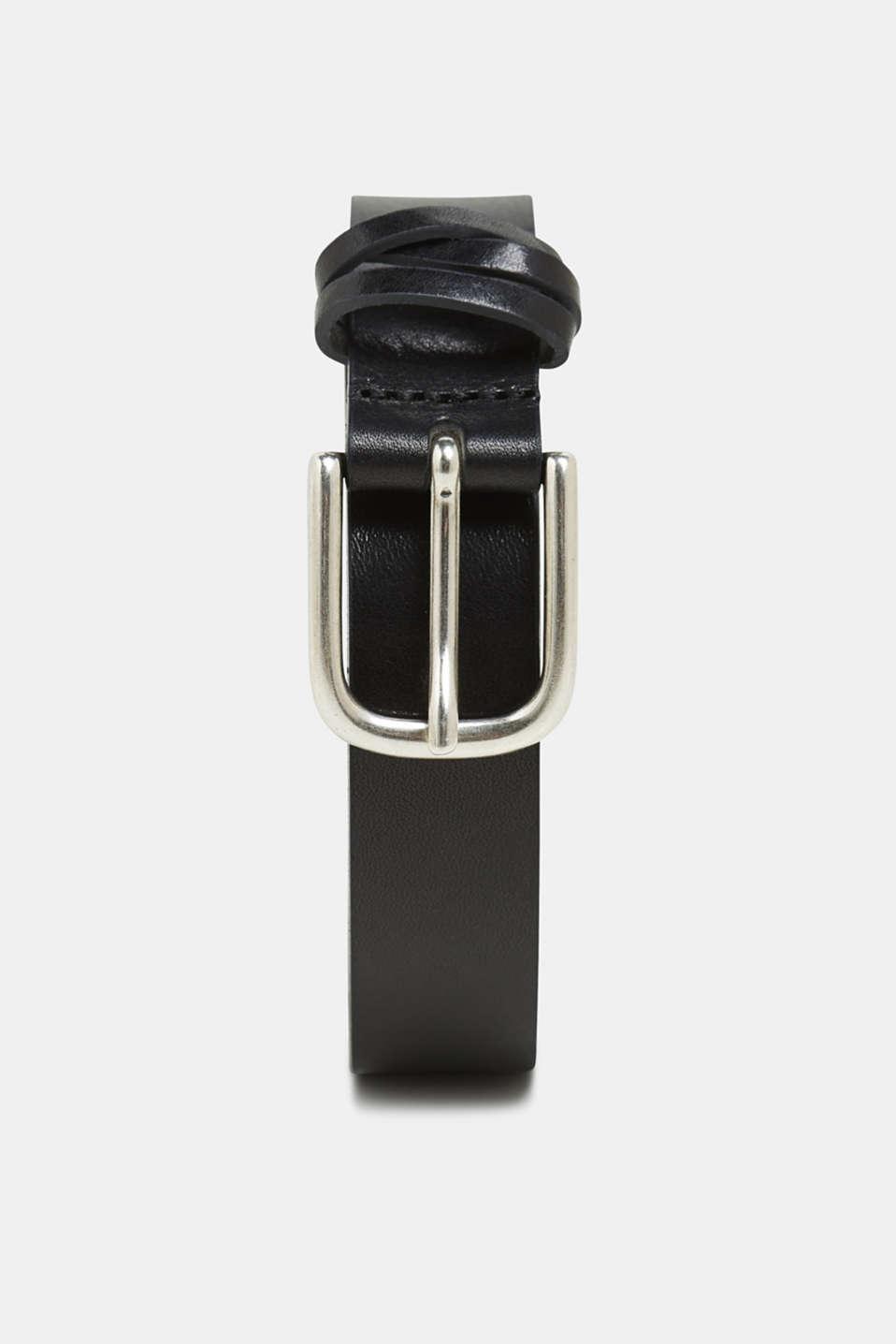 Leather belt in a vintage look, BLACK, detail image number 0