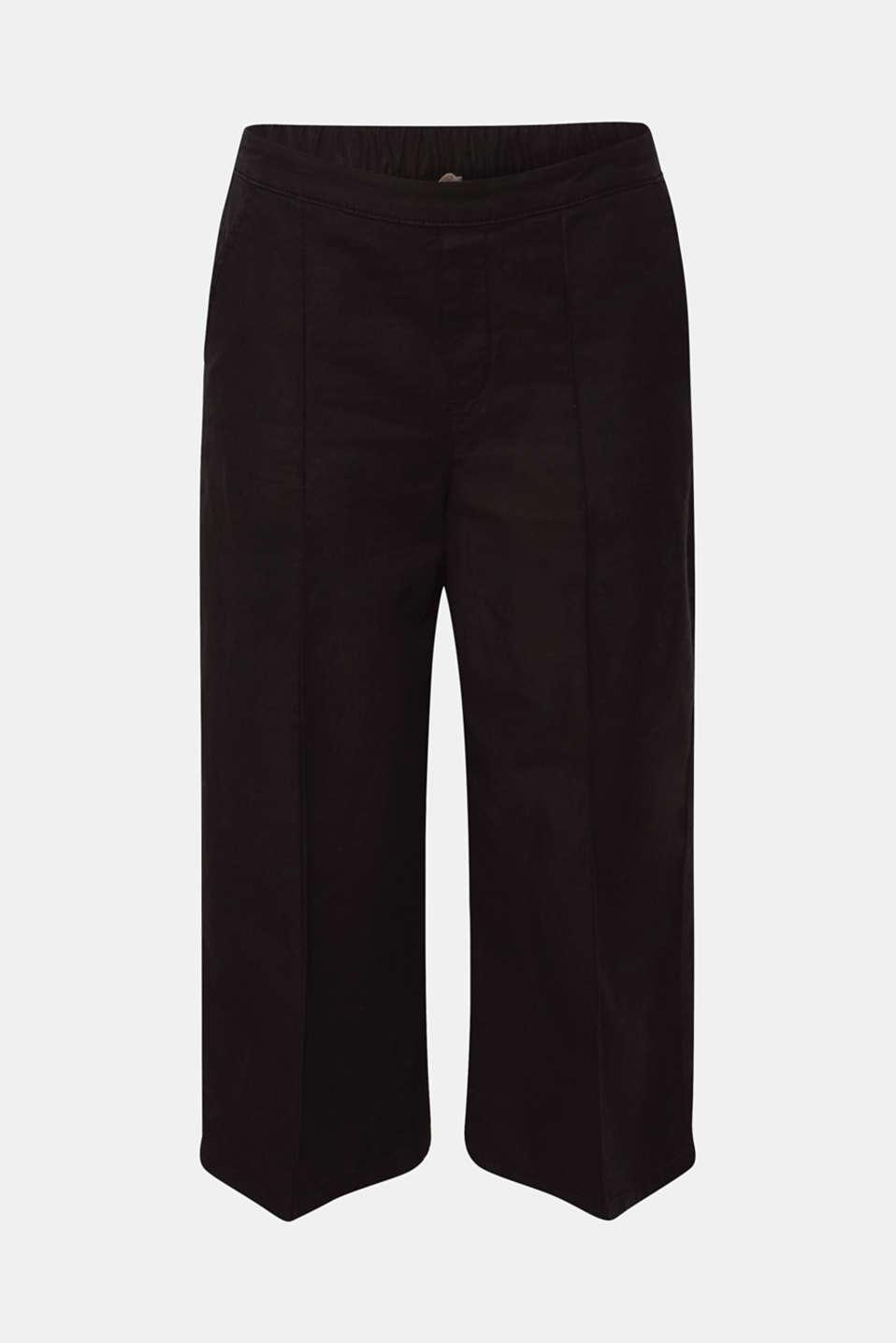 Linen blend: Culottes with decorative seams