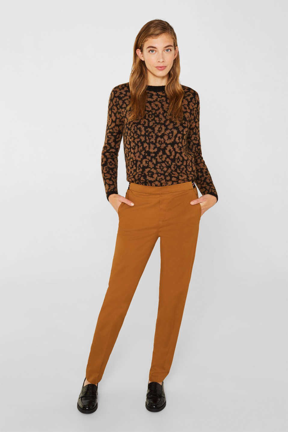Stretch trousers with striped elasticated waistband, TOFFEE, detail image number 0