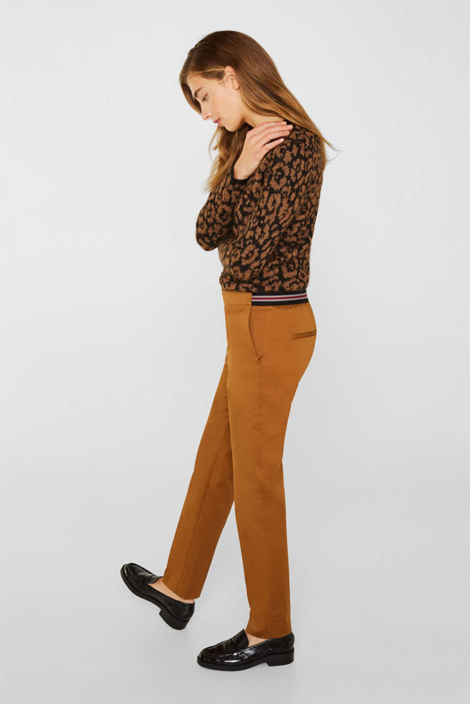 Stretch trousers with striped elasticated waistband, TOFFEE, detail image number 5