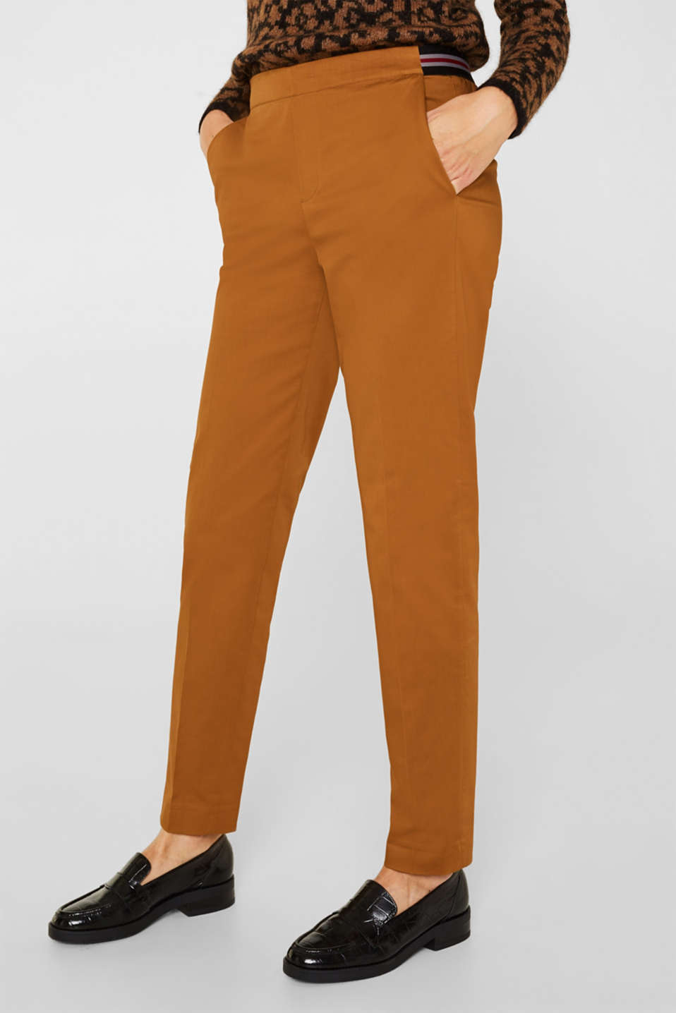 Stretch trousers with striped elasticated waistband, TOFFEE, detail image number 7
