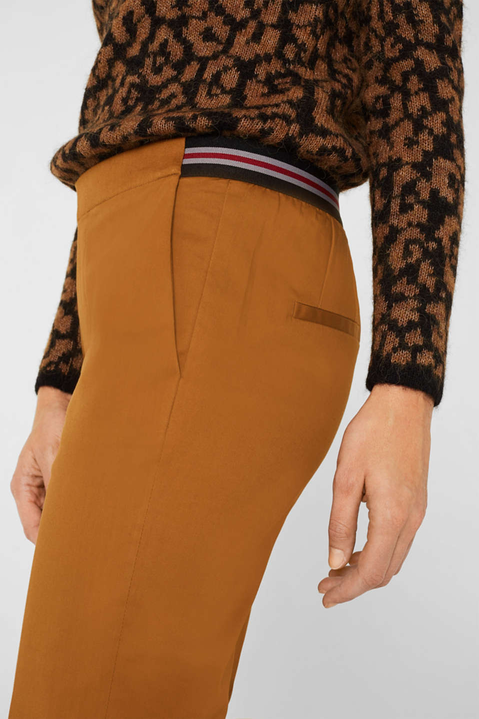 Stretch trousers with striped elasticated waistband, TOFFEE, detail image number 2