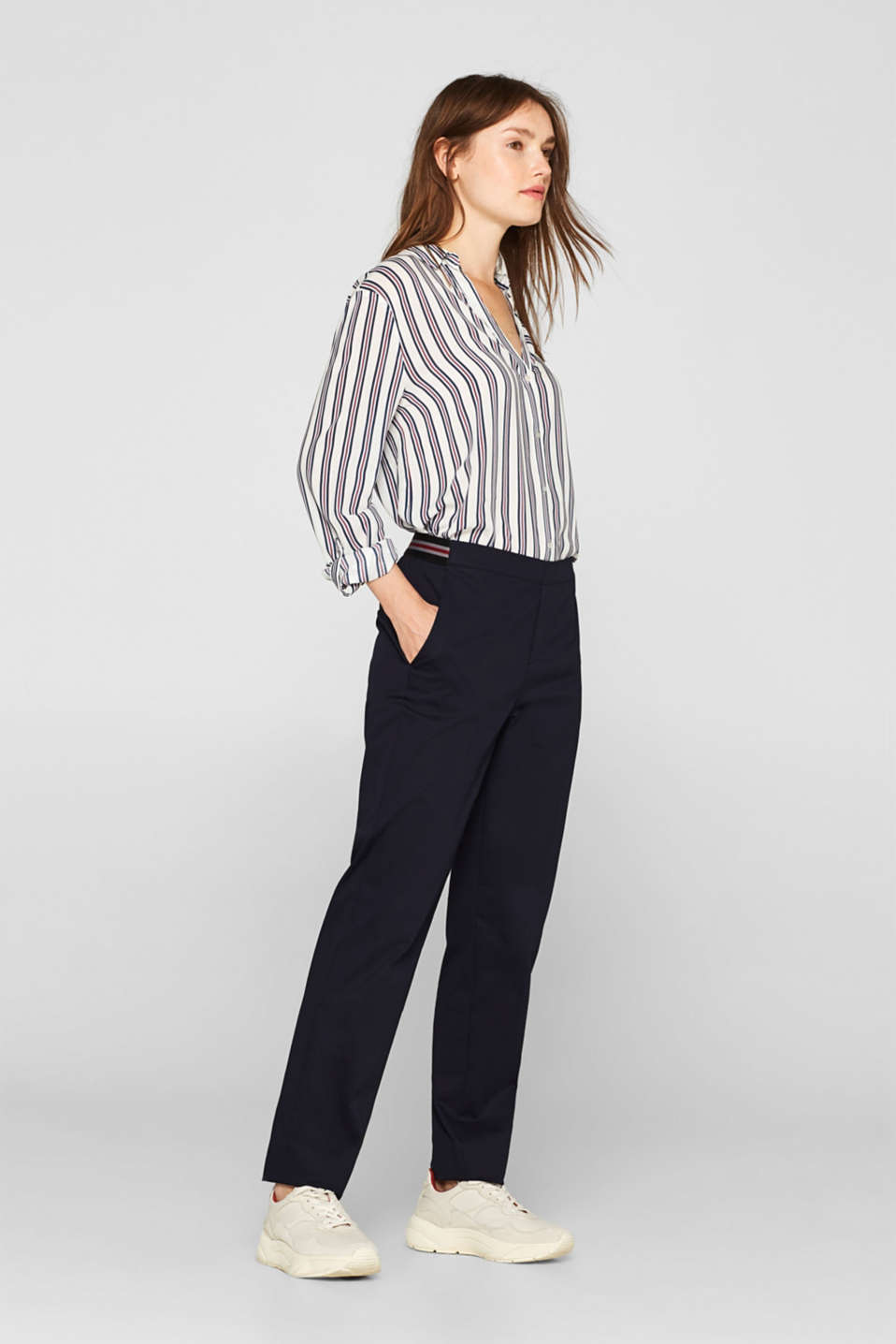 Esprit - Stretch trousers with striped elasticated waistband