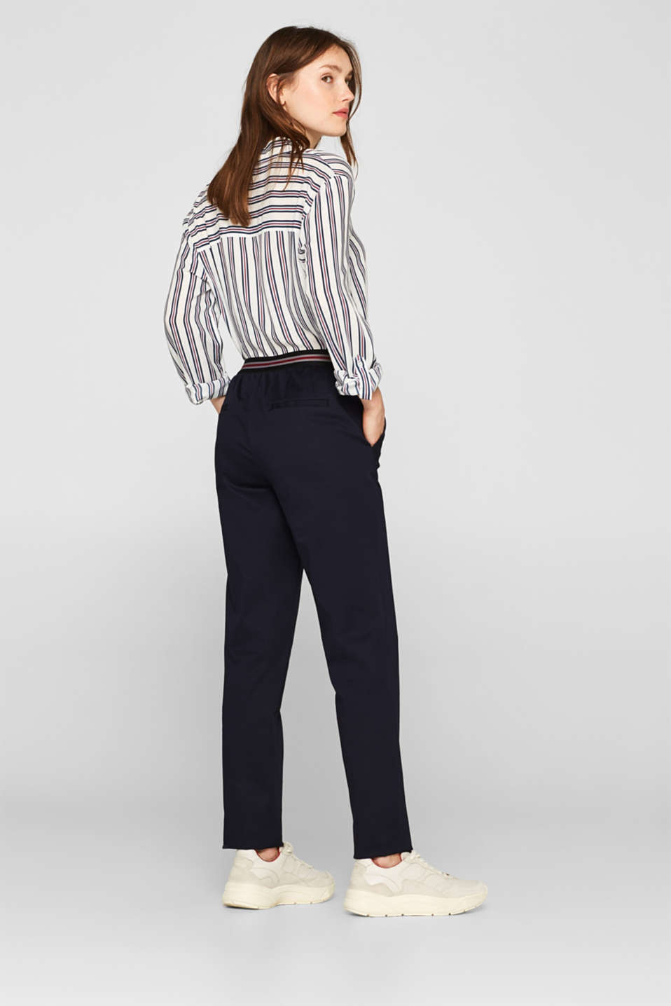 Stretch trousers with striped elasticated waistband, NAVY, detail image number 3
