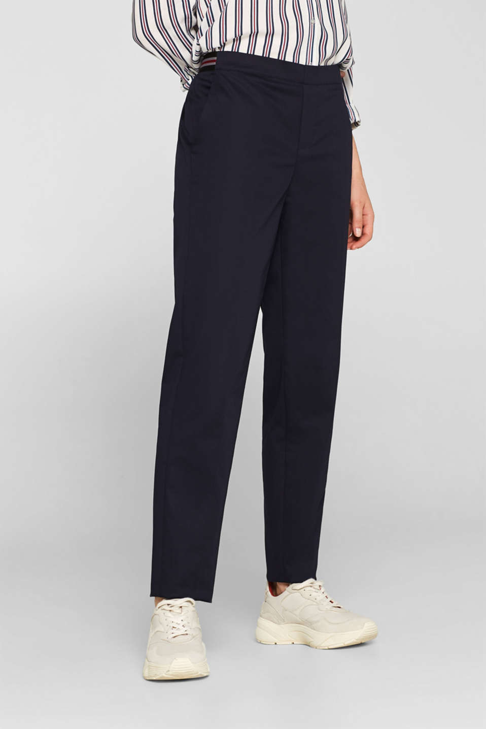 Stretch trousers with striped elasticated waistband, NAVY, detail image number 5