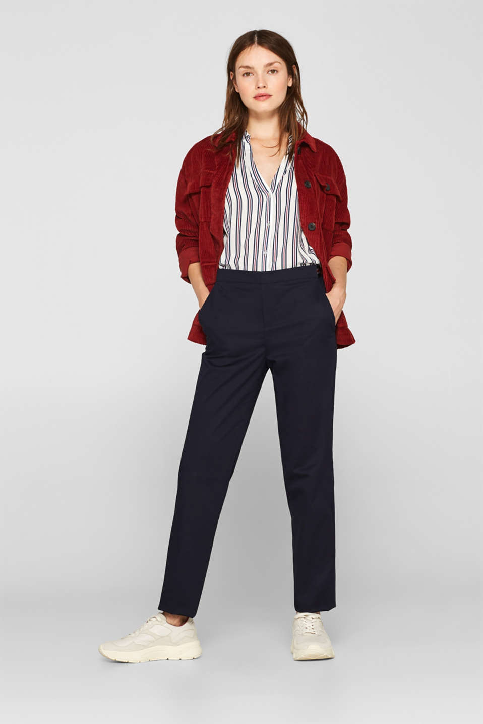 Stretch trousers with striped elasticated waistband, NAVY, detail image number 1