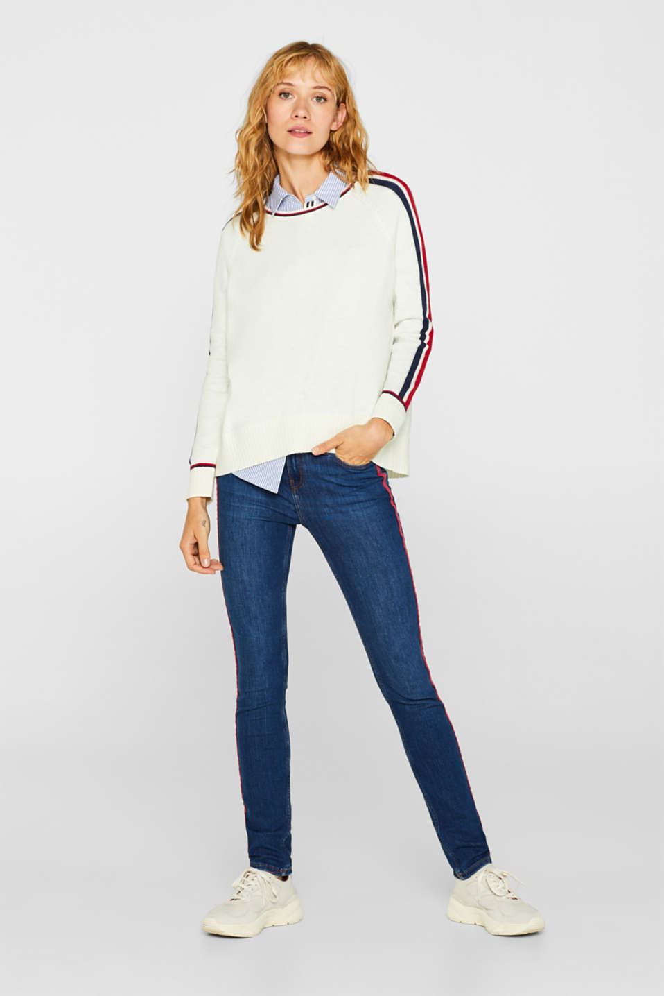 Esprit - Stretchjeans met racing stripes