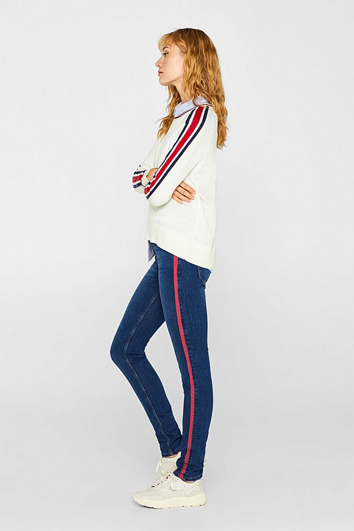 Stretch-Jeans mit Racing-Streifen, BLUE MEDIUM WASHED, detail image number 1