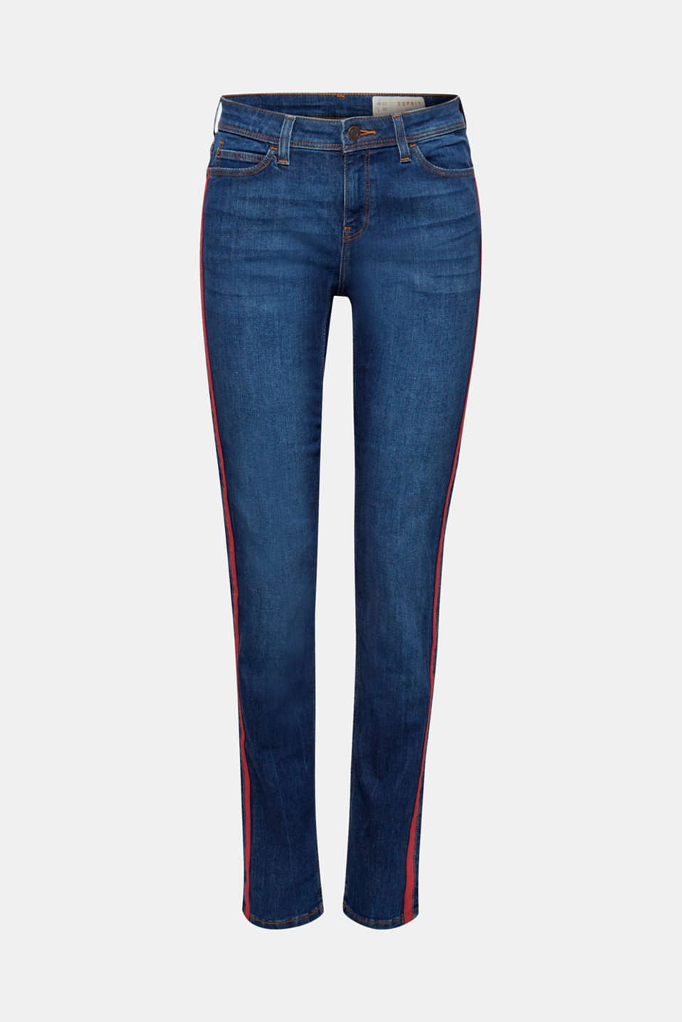 Stretch jeans with racing stripes, BLUE MEDIUM WASH, detail image number 0