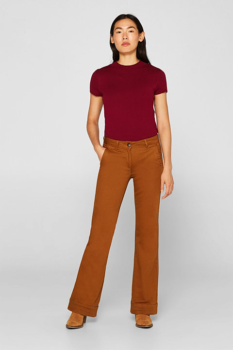 Stretch trousers with a flared leg
