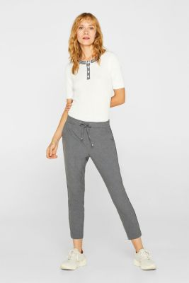 Piped tracksuit bottoms with stretch for comfort, MEDIUM GREY, detail