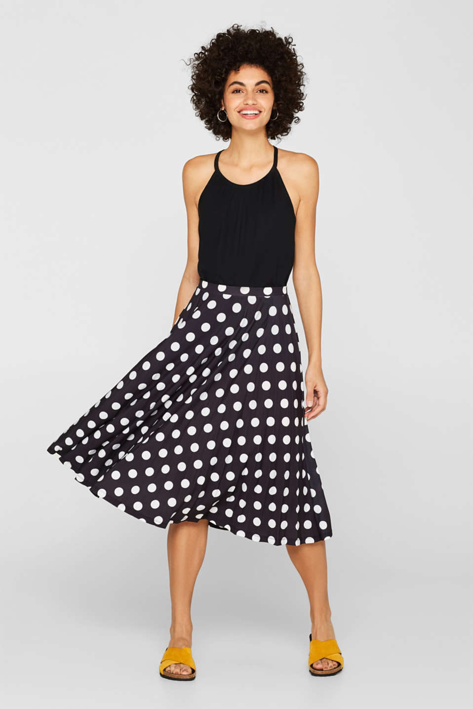 Esprit - Pleated midi skirt with a print