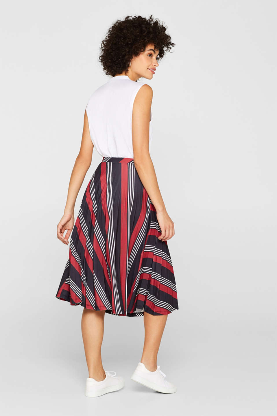 Pleated midi skirt with a print, BLACK 3, detail image number 3