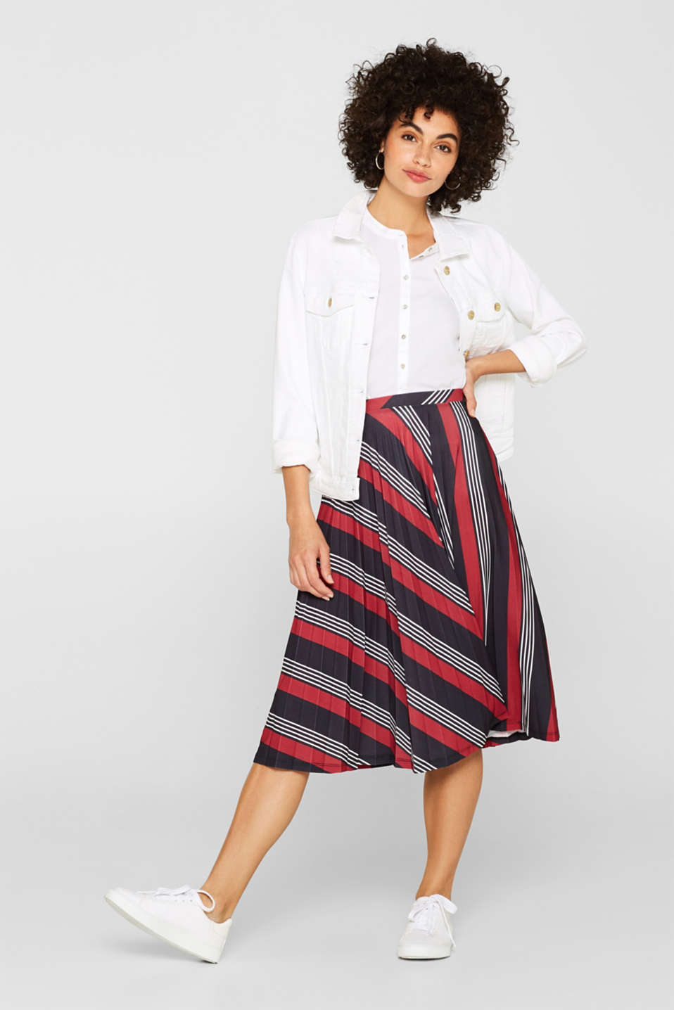 Pleated midi skirt with a print, BLACK 3, detail image number 1