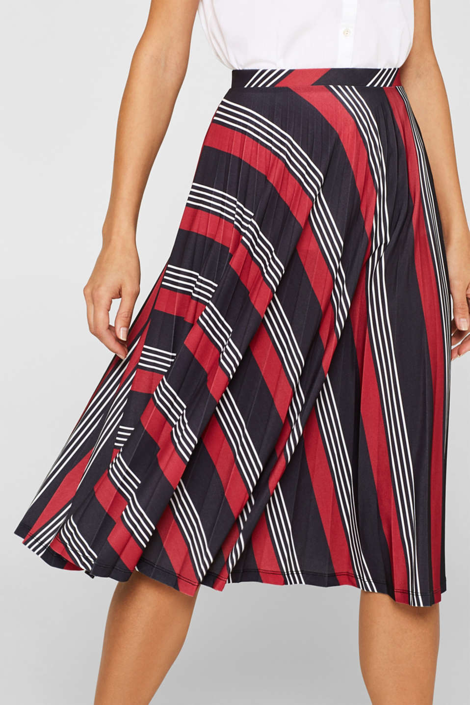 Pleated midi skirt with a print, BLACK 3, detail image number 2