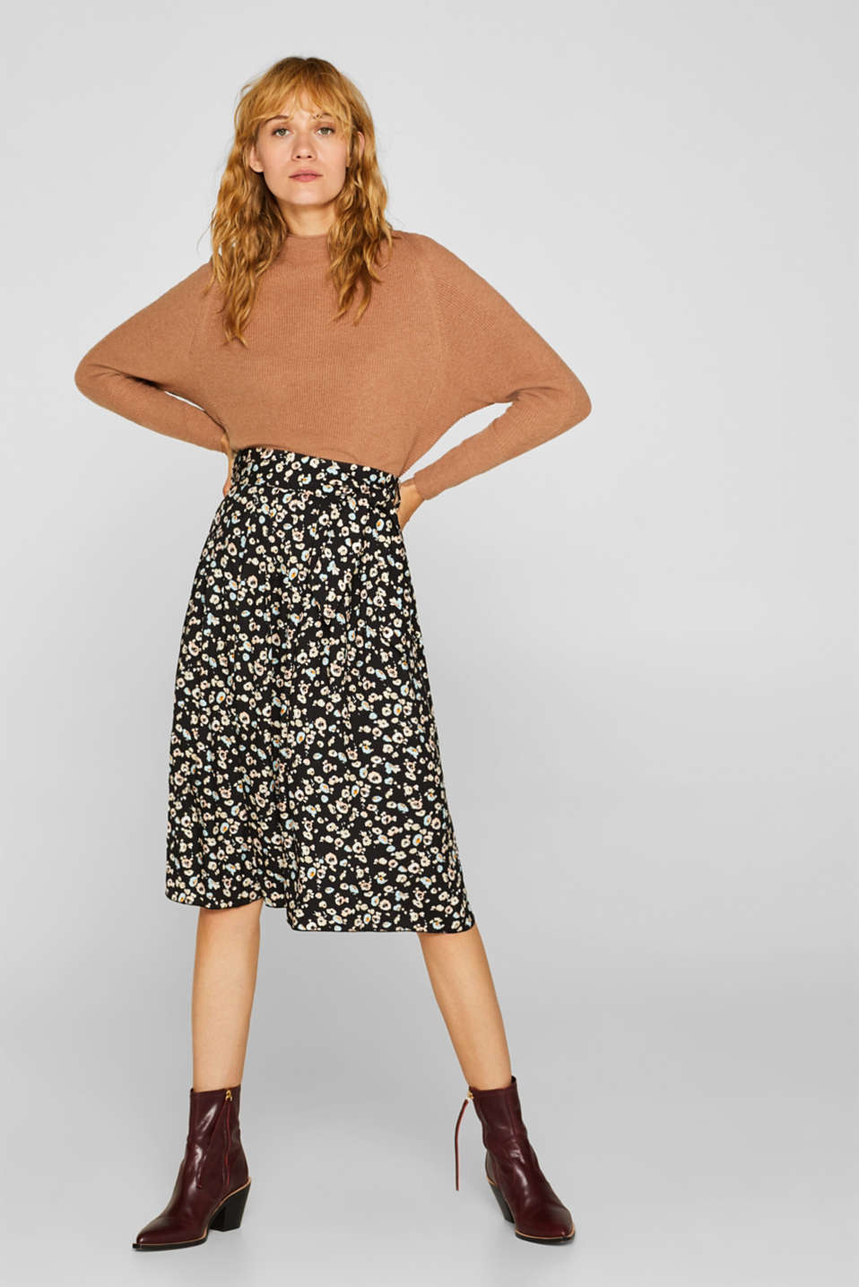 Esprit - Midi skirt with a tie-around belt