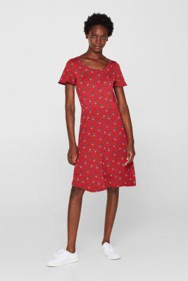 7158159c095 Esprit - Ensfarvet eller blomstret: kjole i jersey/stretch i Esprits ...