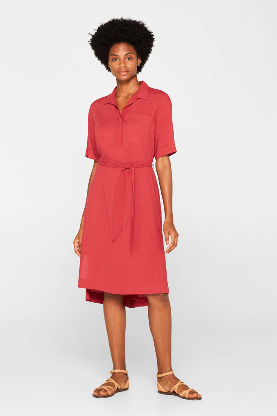 Dresses light woven, DARK RED, detail image number 1