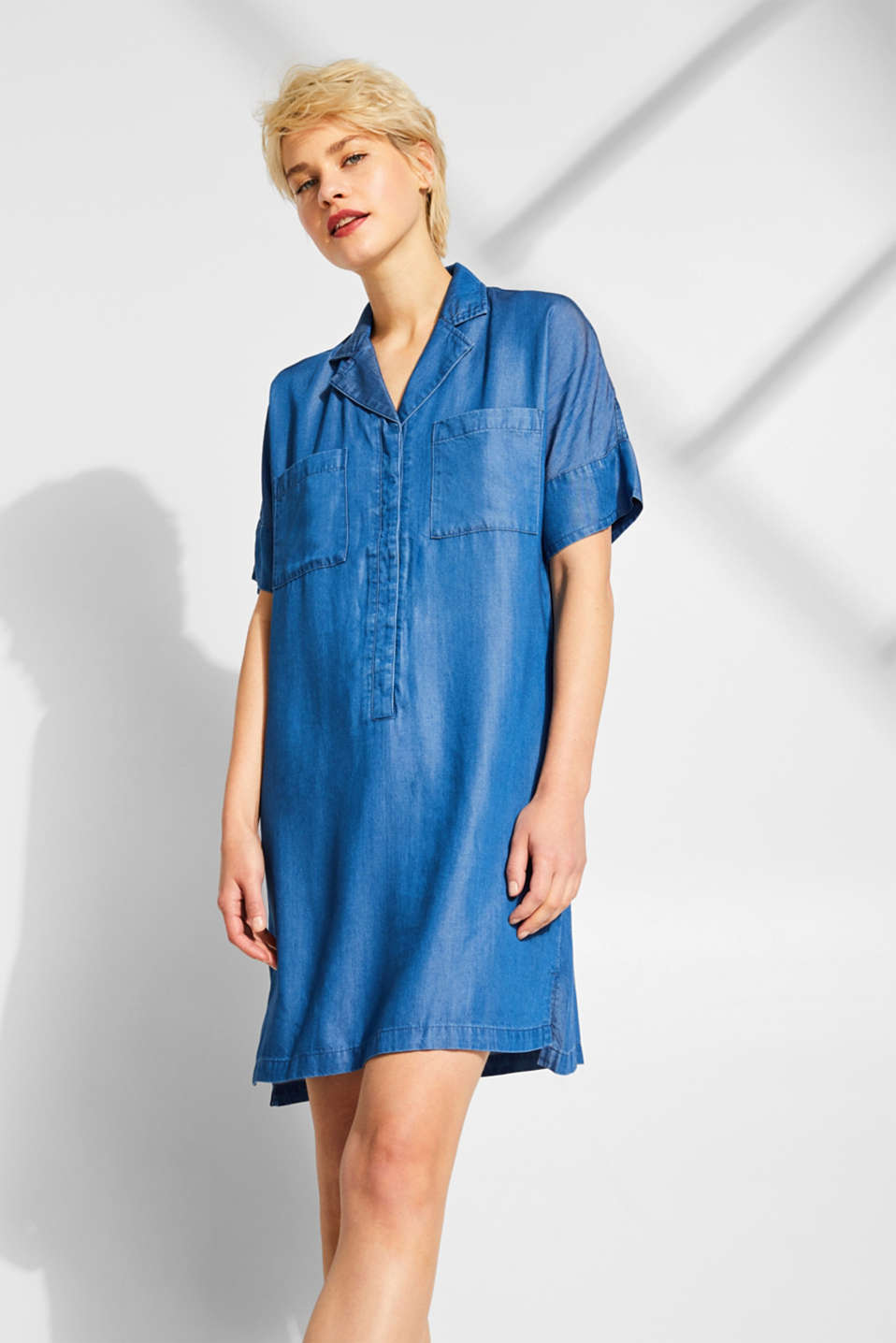 Shirt dress in 100% lyocell, BLUE MEDIUM WASH, detail image number 0