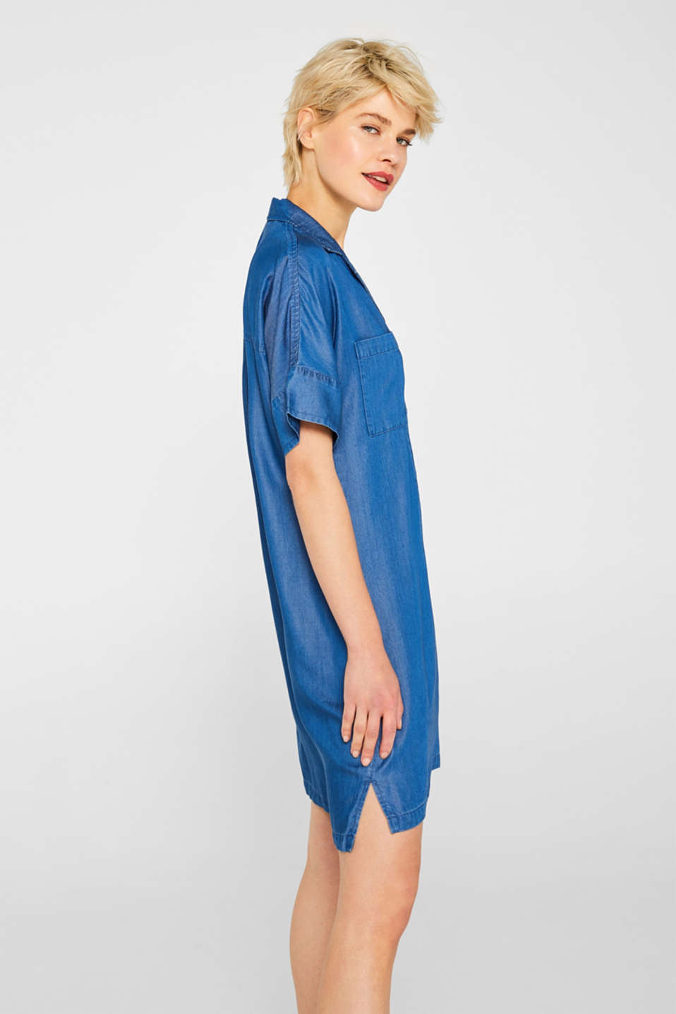 Shirt dress in 100% lyocell, BLUE MEDIUM WASH, detail image number 5
