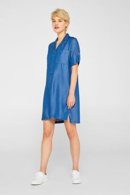 Shirt dress in 100% lyocell, BLUE MEDIUM WASH, detail