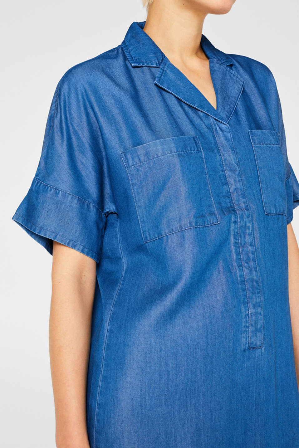 Shirt dress in 100% lyocell, BLUE MEDIUM WASH, detail image number 3