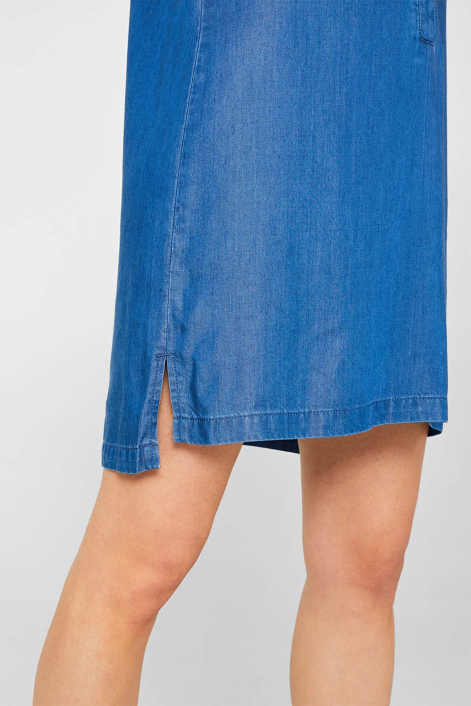 Shirt dress in 100% lyocell, BLUE MEDIUM WASH, detail image number 6