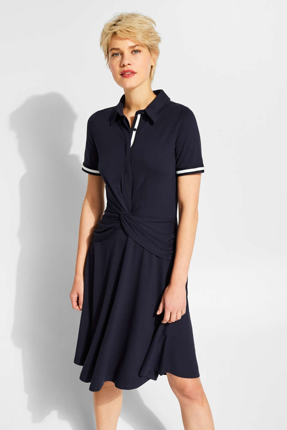 Esprit - Draped jersey polo dress with stretch