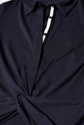 Draped jersey polo dress with stretch