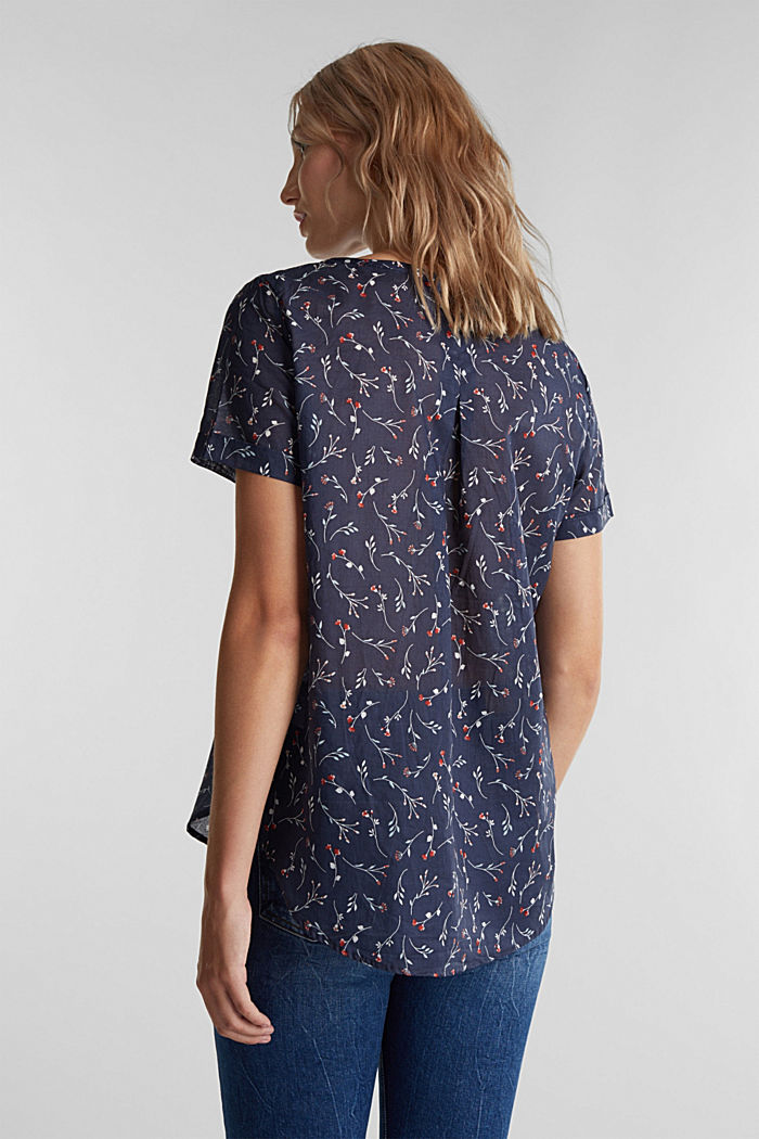 Blouse top with a print and decorative little buttons, NAVY, detail image number 3