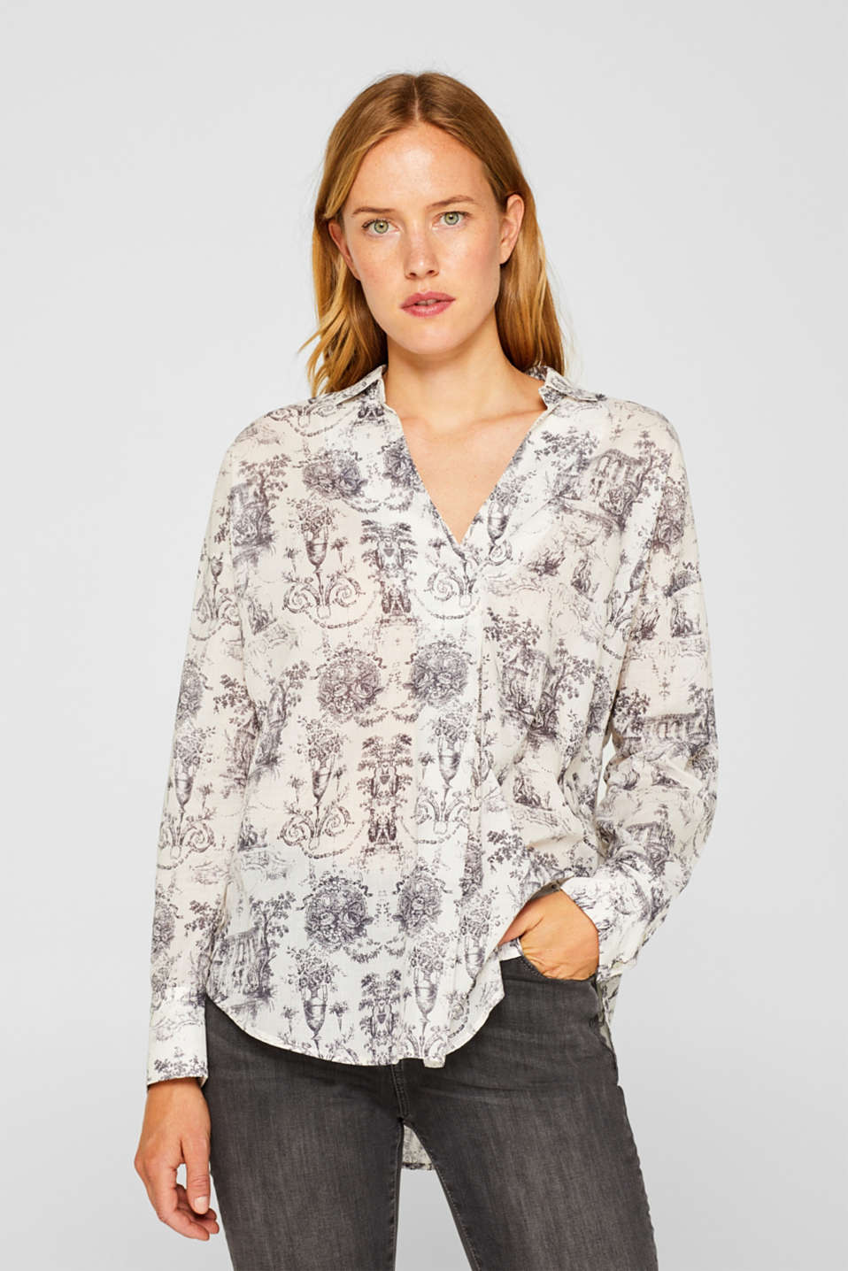 Esprit - Shirt blouse with a print, 100% cotton
