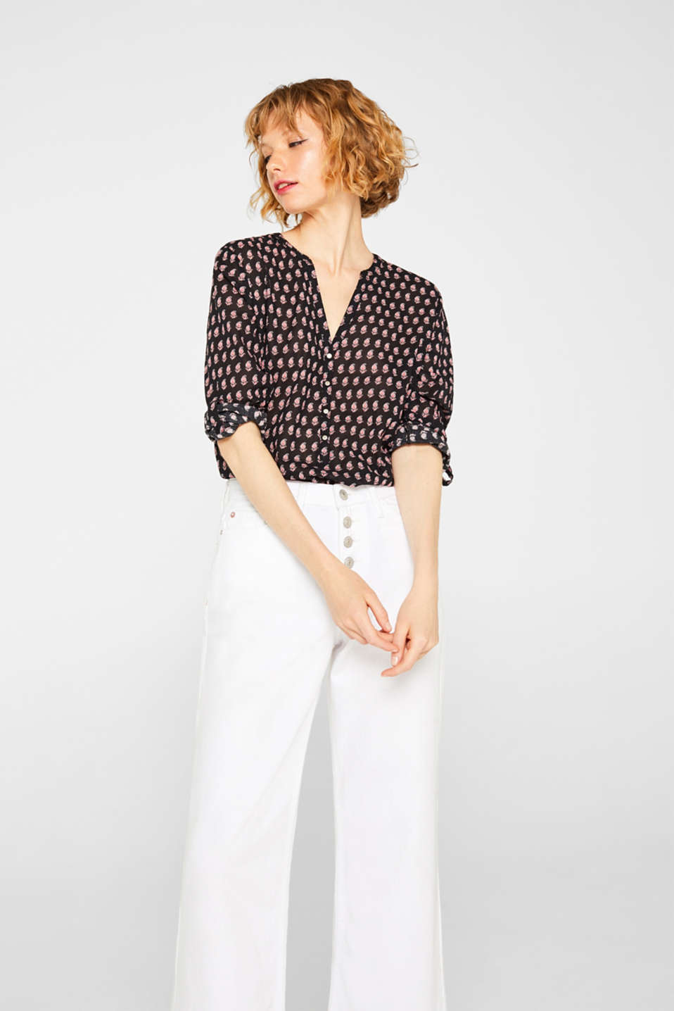 Esprit - Henley blouse with turn-up sleeves, 100% cotton