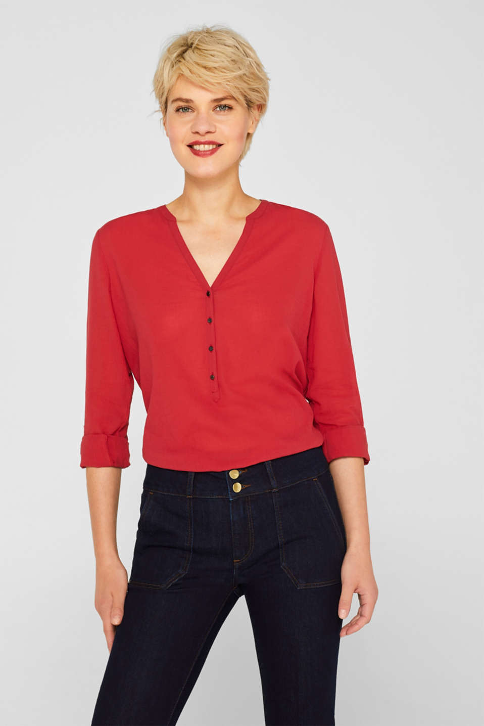 Esprit - Crinkle blouse with turn-up sleeves, 100% cotton
