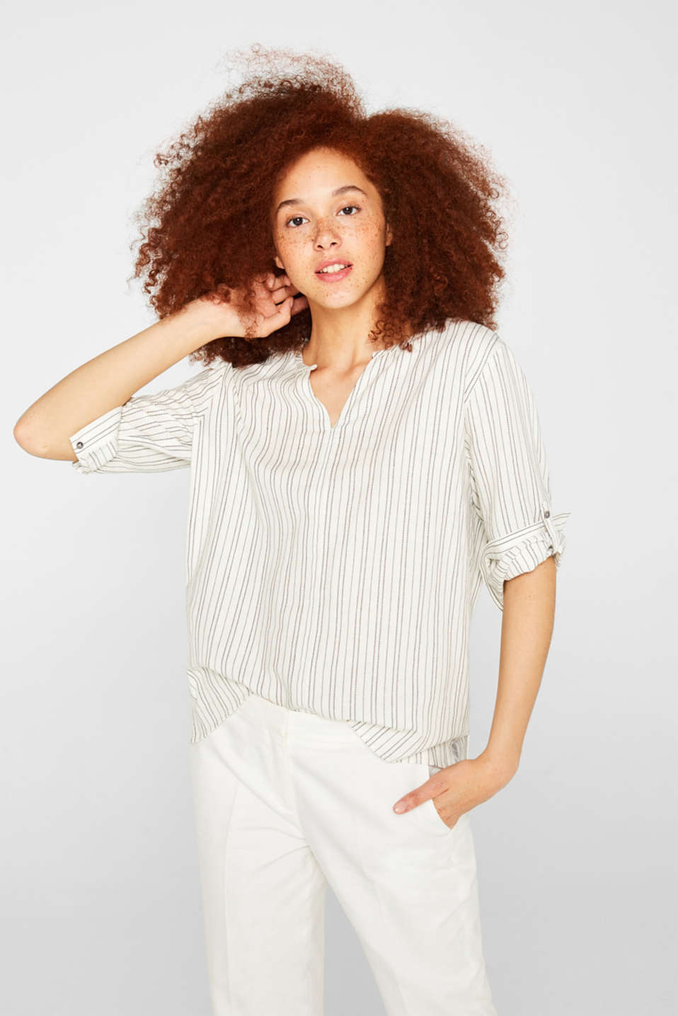 Linen blend: Slip-on blouse with woven stripes, OFF WHITE, detail image number 0