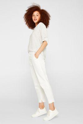 Linen blend: Slip-on blouse with woven stripes, OFF WHITE, detail