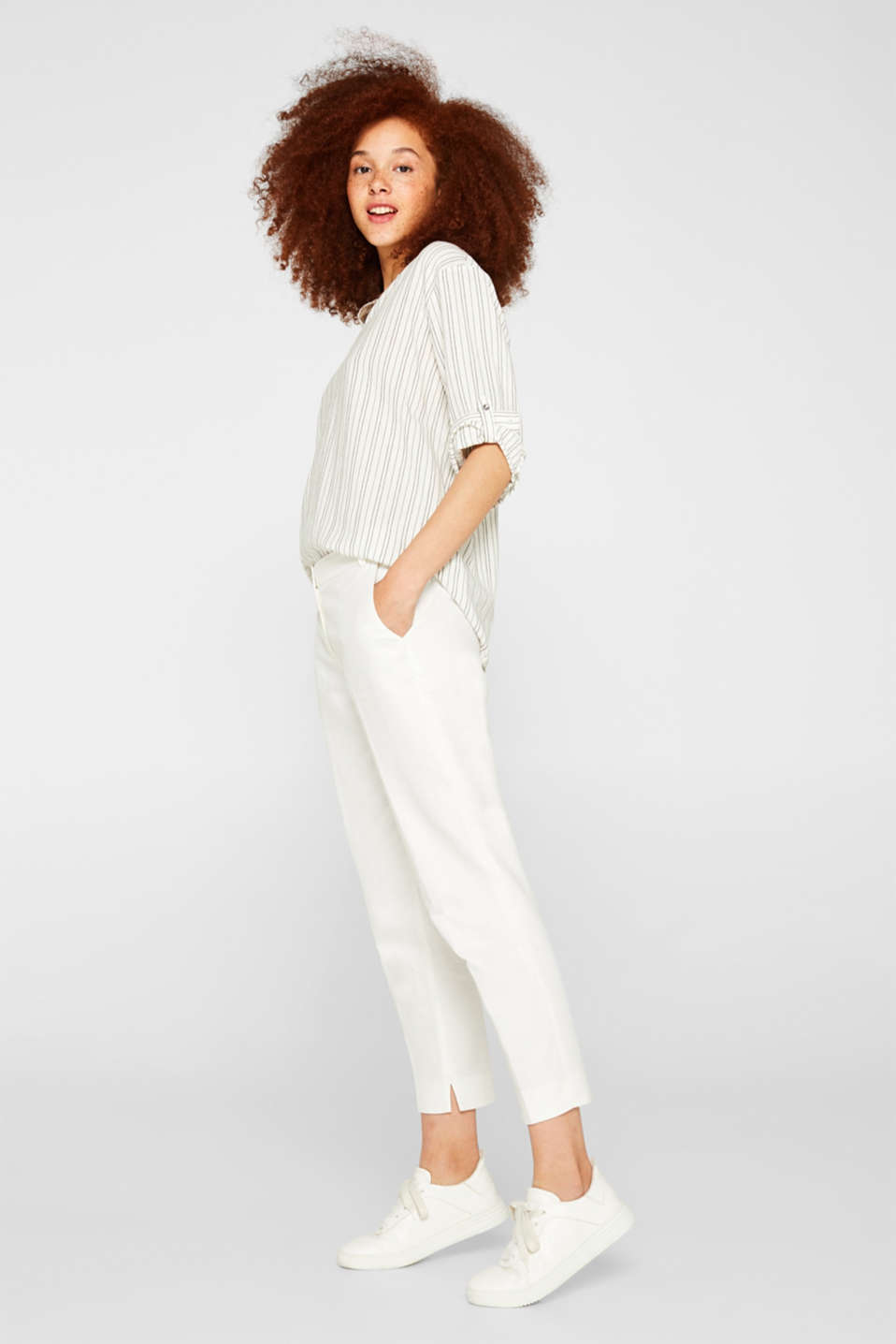 Linen blend: Slip-on blouse with woven stripes, OFF WHITE, detail image number 1