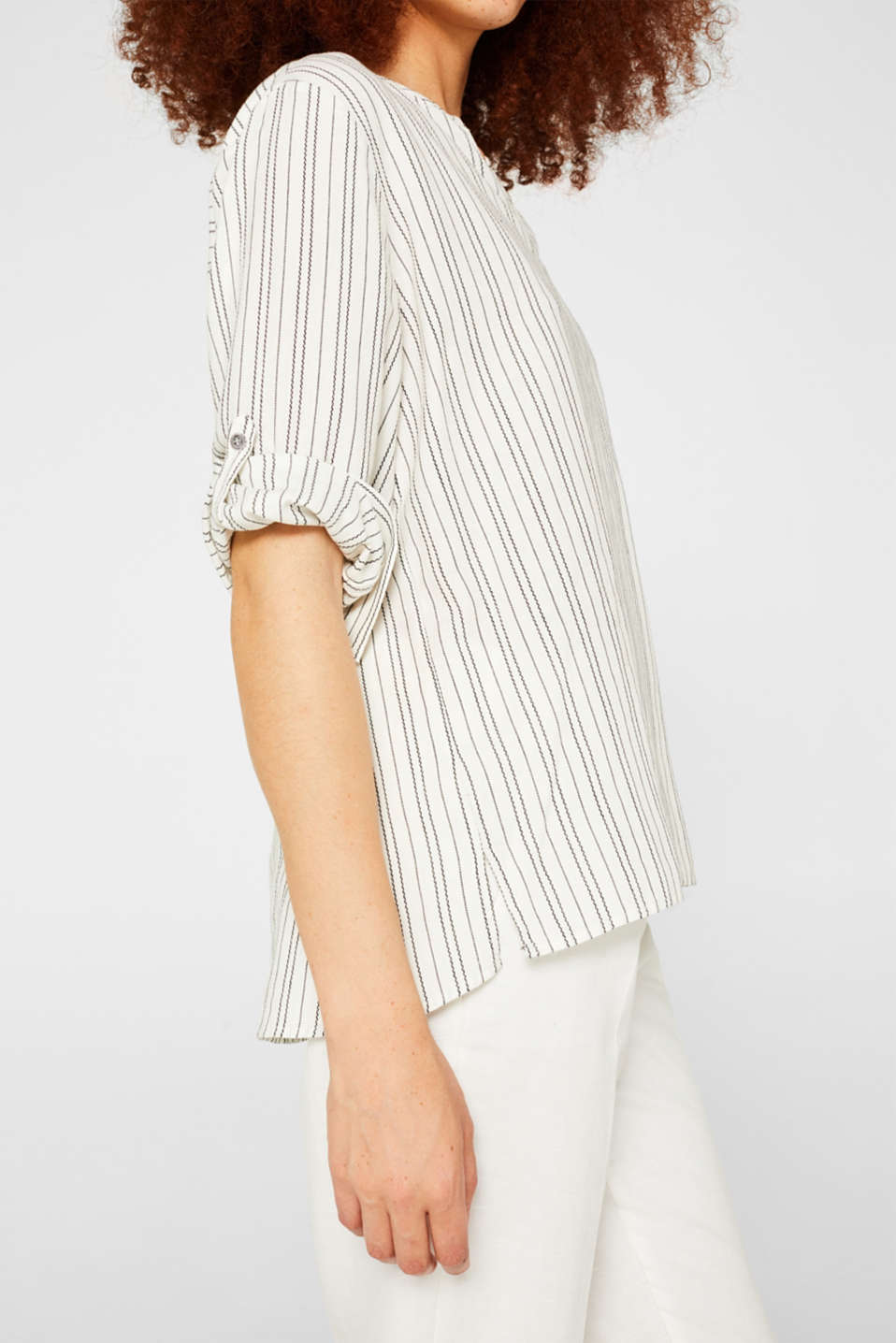 Linen blend: Slip-on blouse with woven stripes, OFF WHITE, detail image number 2