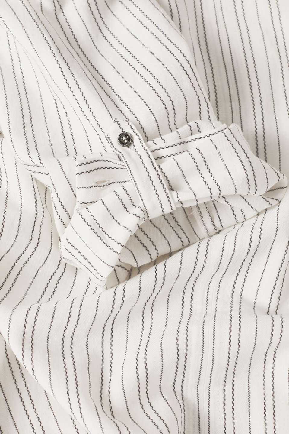 Linen blend: Slip-on blouse with woven stripes, OFF WHITE, detail image number 4