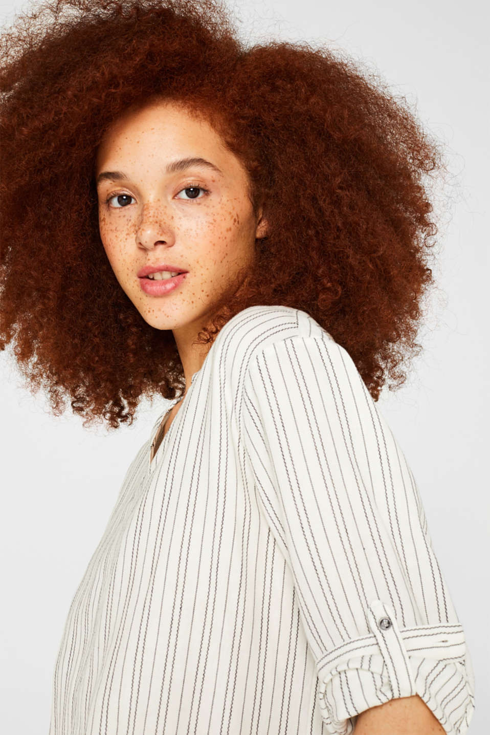 Linen blend: Slip-on blouse with woven stripes, OFF WHITE, detail image number 5
