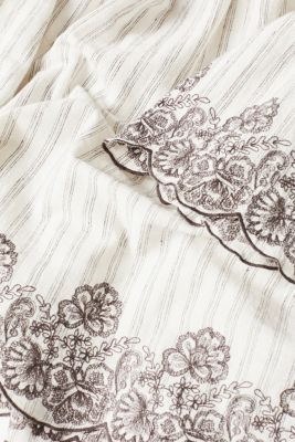 Linen blend: blouse with embroidery