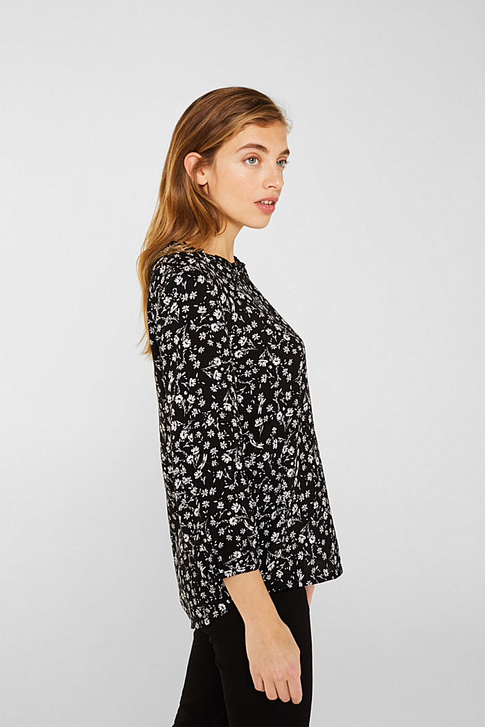 Blouse with a frill and a button placket, BLACK, detail image number 5