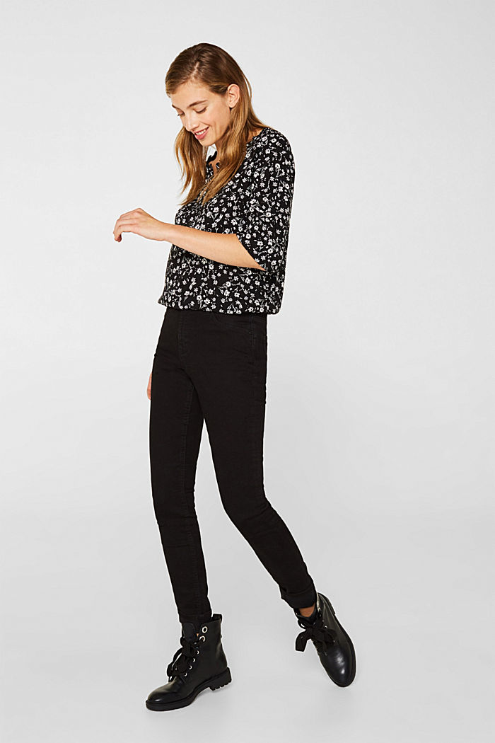 Blouse with a frill and a button placket, BLACK, detail image number 1