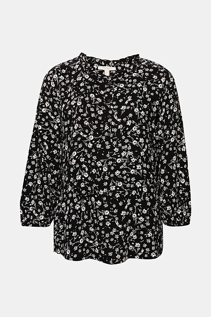 Blouse with a frill and a button placket, BLACK, detail image number 6