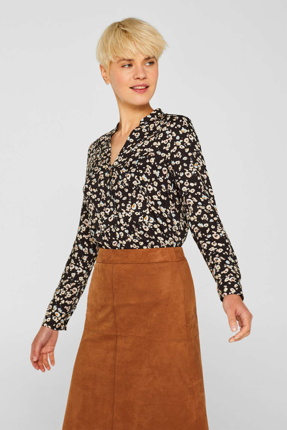 Henley blouse with a peplum and turn-up sleeves, ANTHRACITE, detail image number 0