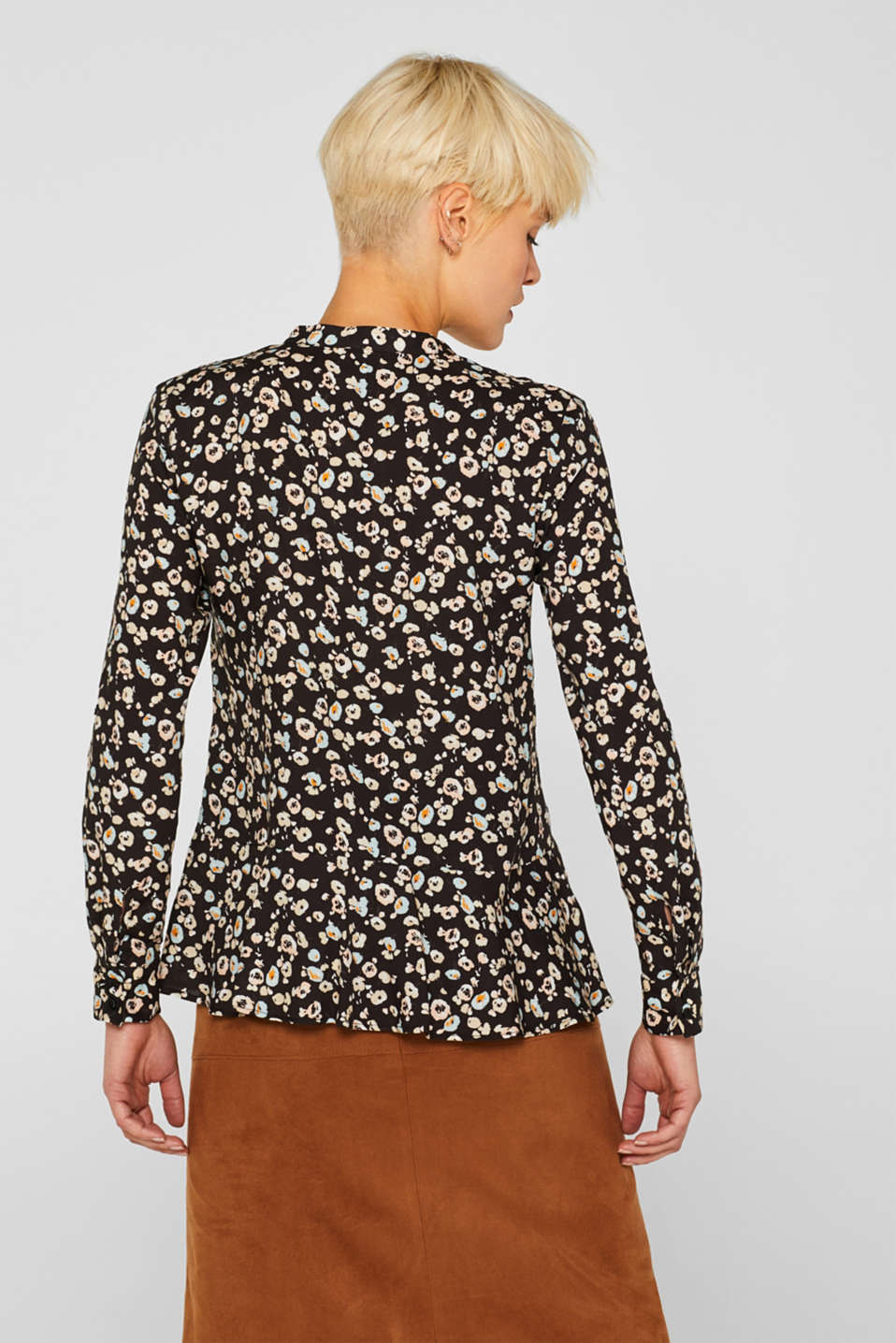 Henley blouse with a peplum and turn-up sleeves, ANTHRACITE, detail image number 3