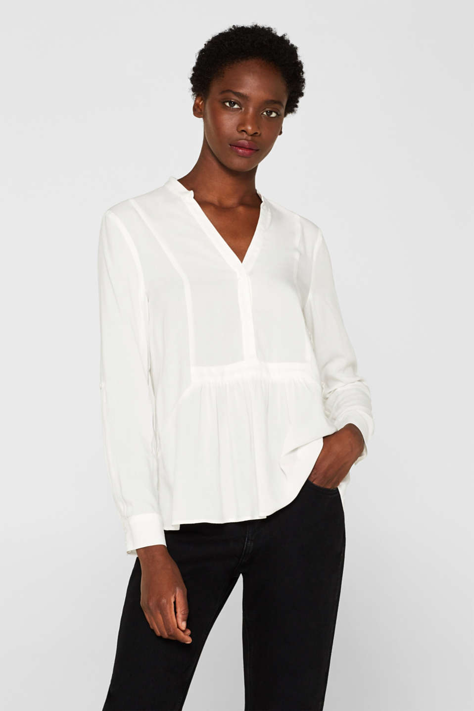 Esprit - Henley blouse with a peplum and turn-up sleeves