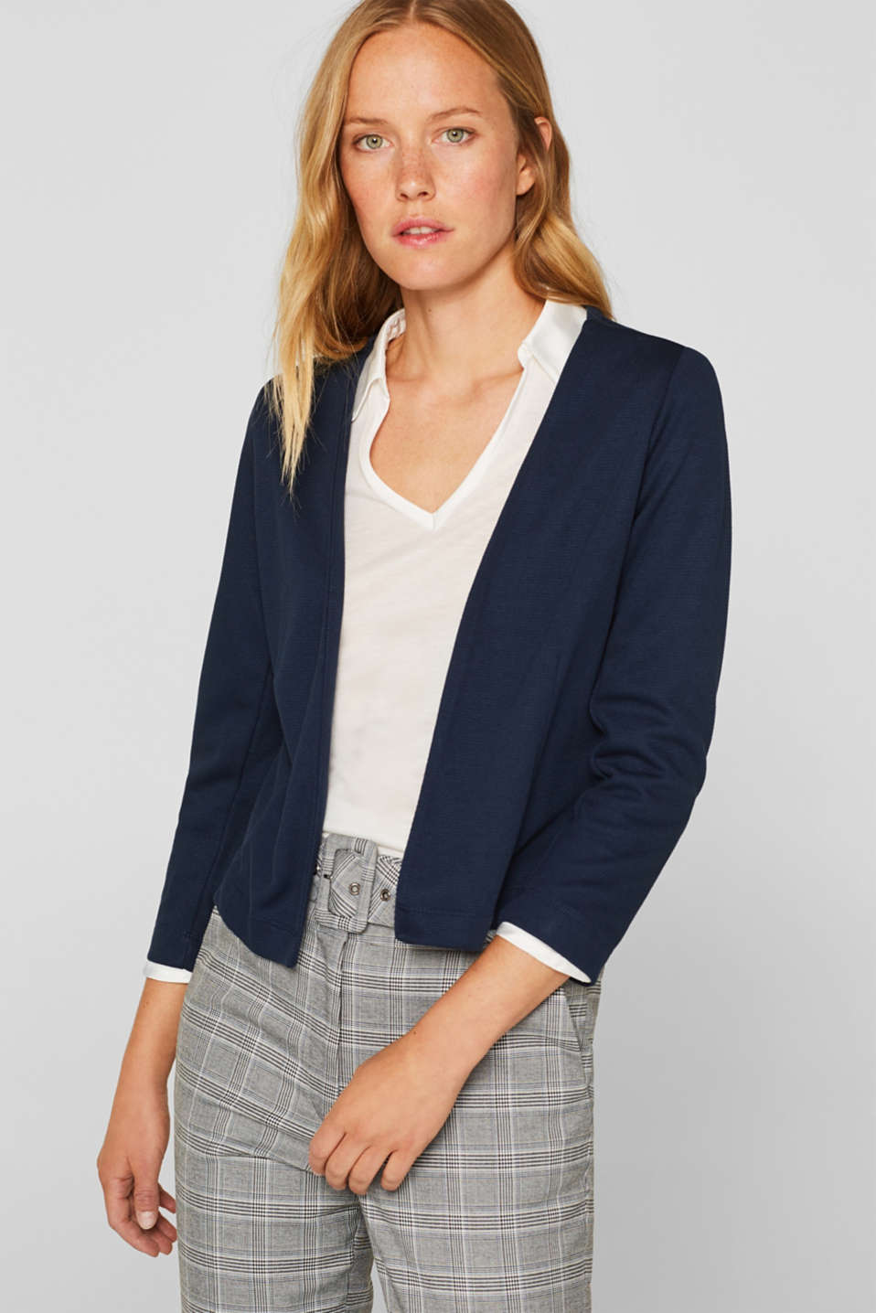 Esprit - Bolero cardigan made of textured jersey